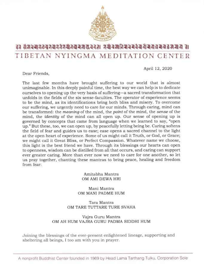 Brief van Tarthang Tulku Rinpoche aan de sangha in tijden van COVID-19 - met wensen van welzijn voor alle levende wezens en aanwijzingen voor gebed en mantra